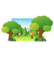 park scene with two kids catching butterfly vector image