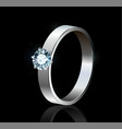 ring with diamond on black background vector image
