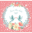 Wedding round floral frame with flowers vector image