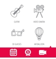 Guitar music 3d glasses and air balloon icons vector image
