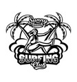 monochrome logo emblem girl surfer surfing on vector image