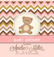 beautiful baby shower card template with golden vector image