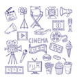 cinematography doodle set video movie vector image