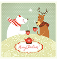 deer and bear drink hot tea vector image vector image