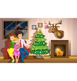 A family inside the room with a christmas tree vector image vector image