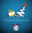 Simple blue christmas card with gift tree and vector image