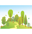green landscape with butterfly vector image