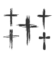 Brush painted cross icons vector image