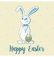 Happy easter poster rabbit boy keeps egg bascet vector image