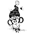 New Year With Isolated Black Face Of Monkey vector image