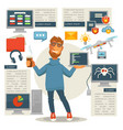 poster in programming concept programmer man with vector image