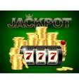 Slot machine with lucky seven and golden coins vector image