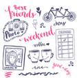 weekend sketch art romantic set of hand drawn vector image