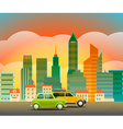 Cityscape with the glass pin City trafic vector image vector image