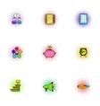 Profit icons set pop-art style vector image