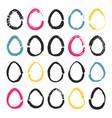 set of 20 handdrawn doodle eggs vector image