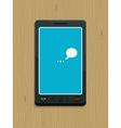 smart phone on wood vector image vector image