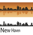 New Haven skyline in orange vector image