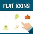 flat icon halloween set of skeleton phantom vector image