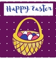 Happy easter poster bascet wiith eggs Card for vector image