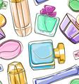 Seamless pattern of perfume bottles vector image
