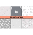set of six black and white floral patterns vector image