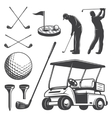 Set of vintage golf elements vector image