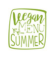 vegan menu green label vector image