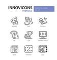 football - modern color single line icons vector image