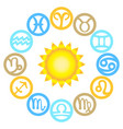 set of zodiac signs located around the sun vector image
