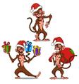set cartoon monkey vector image