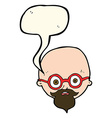 cartoon shocked man with beard with speech bubble vector image