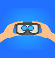 cartoon human hands holding virtual reality vector image