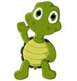 cute green turtle cartoon vector image
