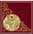 Gemstones golden filigree corner background vector image
