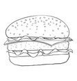 hamburger black and white outline drawing vector image