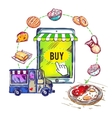Online Food Shop Smartphone Composition vector image