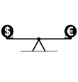 teeter with euro and dollar vector image