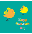 Two birds Happy friendship day Flat design vector image