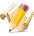 Pencil and scroll paper vector image vector image