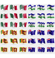 Mexico Lesothe Sri Lanka Australia Set of 36 flags vector image