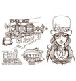 a woman in an old hat and a steampunk gun vector image