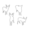 Deer Set Path on the white background vector image