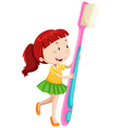 Dental theme with girl and toothbrush vector image