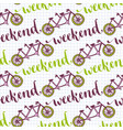 hand drawn seamless pattern with bikes and vector image