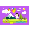 Happy girl with ballons on summer background vector image