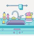 kitchen sink with kitchenware vector image