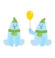 set of cartoon polar bears with hat an scarf vector image