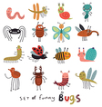 set of funny bugs vector image