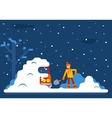 Winter Man Digs Car Out of Snow Background Flat vector image